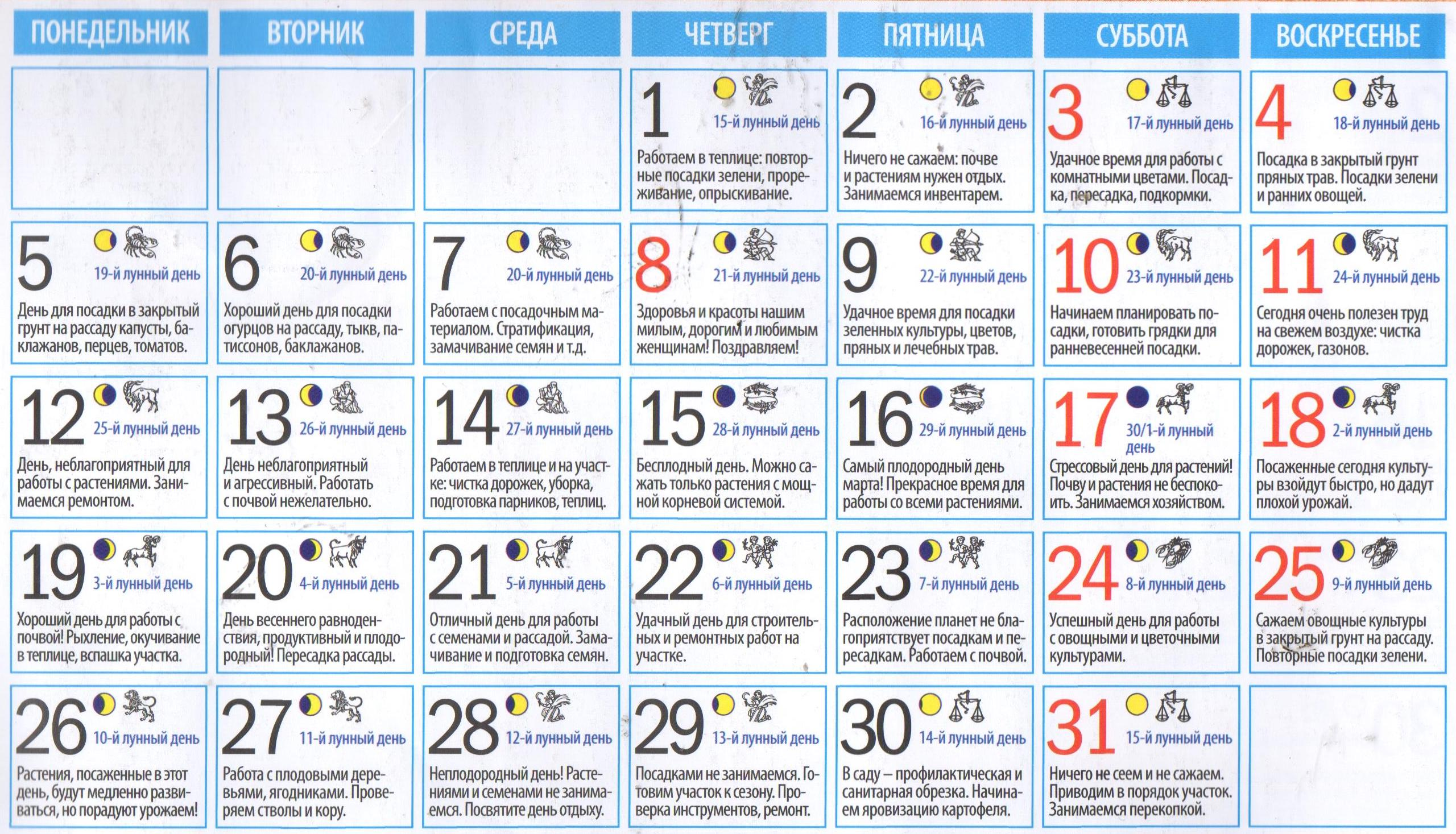лунный календарь садовода на март 2018