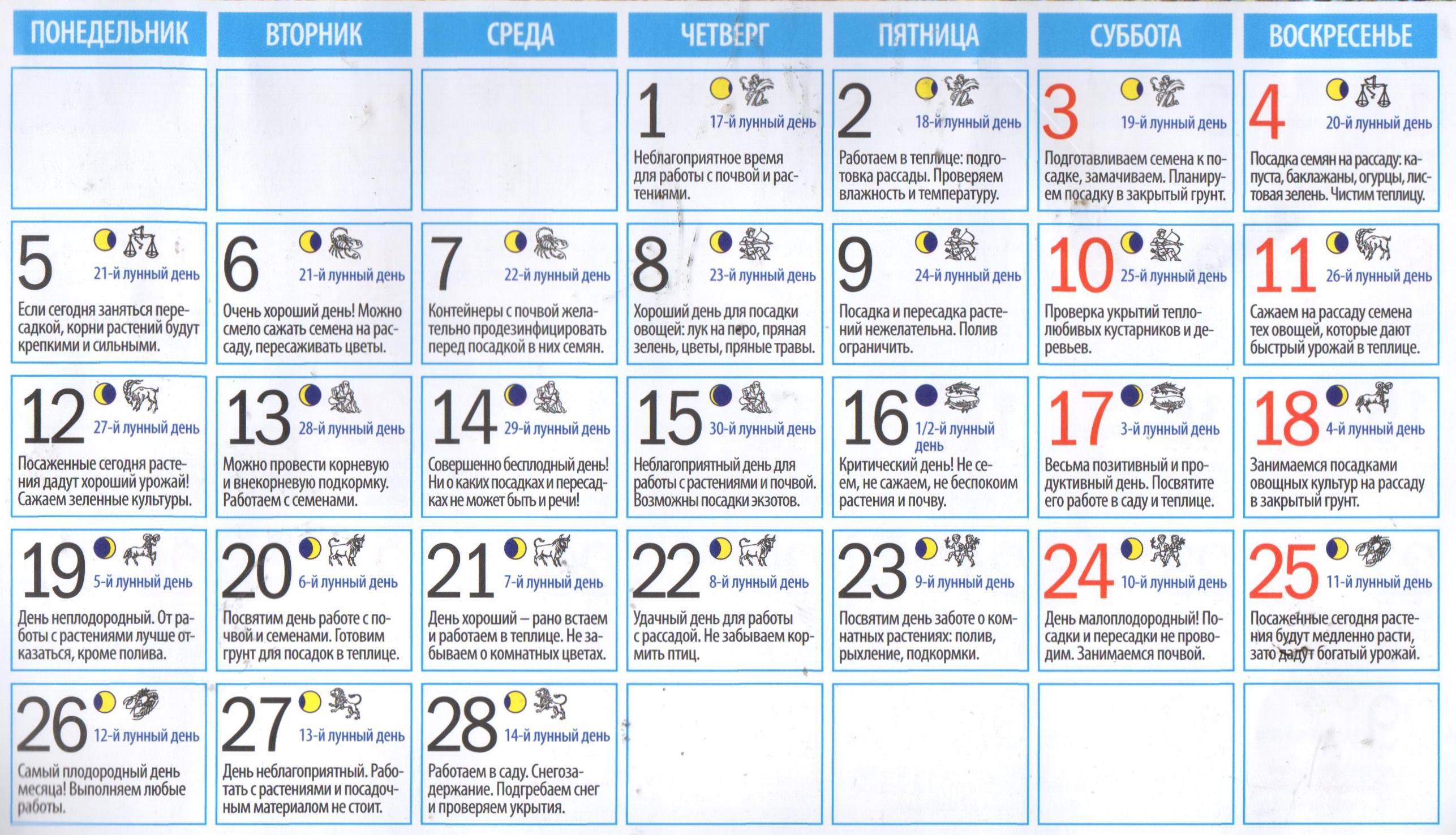 лунный календарь садовода на февраль 2018