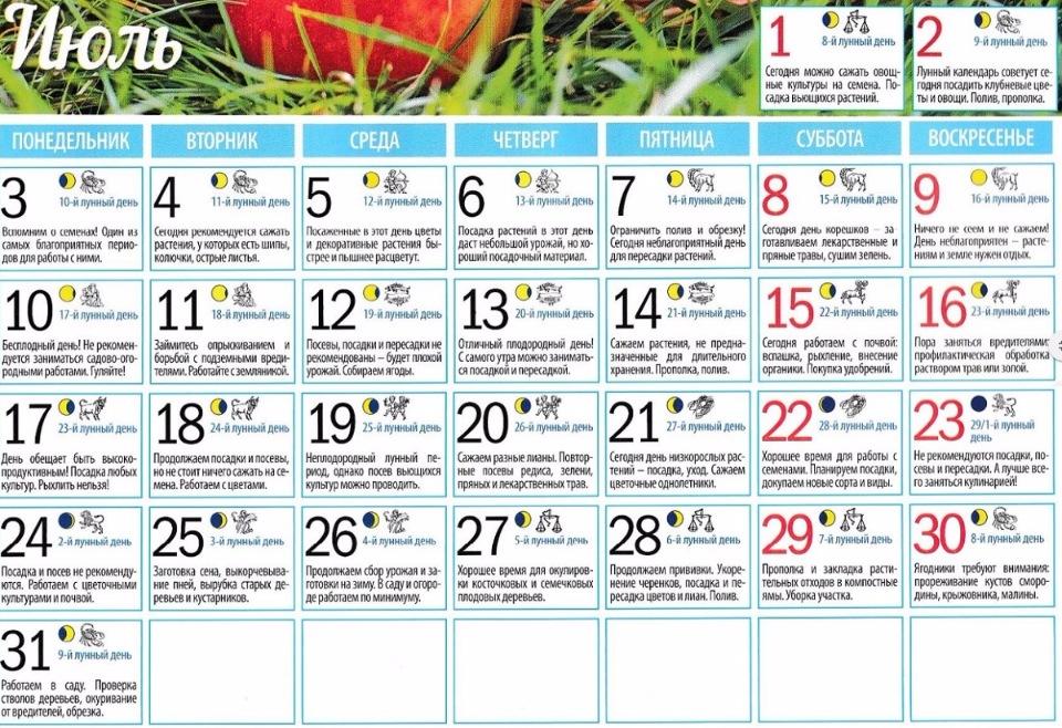 Лунный календарь садовода на июль 2018